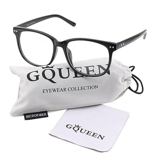 d547657f78b GQUEEN Large Oversized Frame Horn Rimmed Clear Lens Glasses PE1