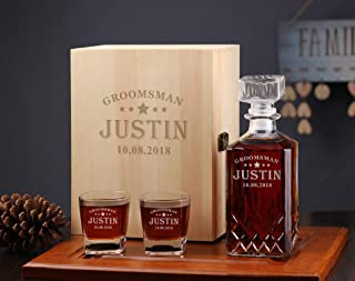 Engraved Decanter Gift Box, Whiskey Gift Box, Personalized Groomsmen Gifts Idea