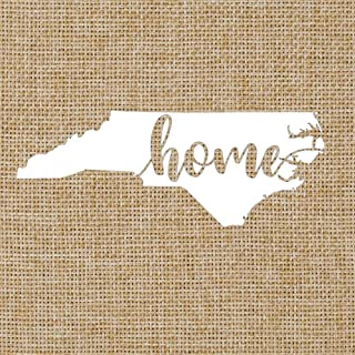 North Carolina NC Home Script | State Silhouette | Glossy White Outdoor Vinyl | Car Window Decal | 2