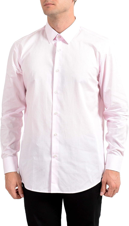 Hugo Boss Men's Enzo Regular Fit Plaid Long Sleeve Dress Shirt US 16.5 IT 42 Pink/White