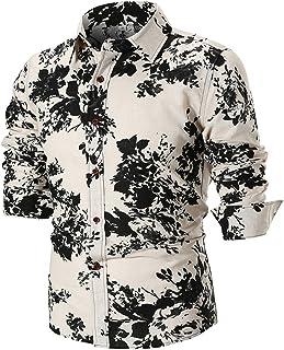 iLXHD Personality Men's Summer Casual Slim Long Sleeve Printed Shirt Top Blouse