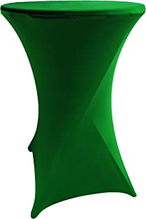 iEventStar Highboy Cocktail Round Stretch Spandex Fitted Table Cover High Top Square Corners Tablecloth (36'' x 42'', Green)