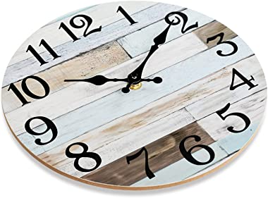 Wall Clock - 10 Inch Silent Non-Ticking Wooden Wall Clocks Battery Operated - Country Retro Rustic Style Decorative for Livin