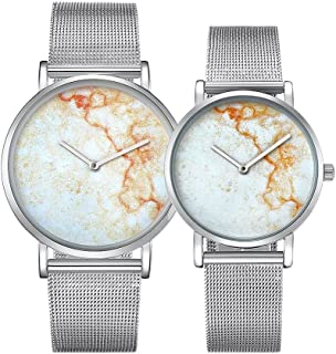 Fashion Watches 6812 Round Dial Alloy Silver Case Fashion Couple Watch Men & Women Lover Quartz Watches with Stainless Steel Band