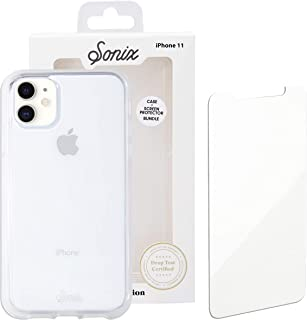 Sonix Clear Case for iPhone 11 and Tempered Glass Screen Protector [Military Drop Test Certified] Clear Case and Screen Protector Bundle Pack for Apple iPhone XR, iPhone 11