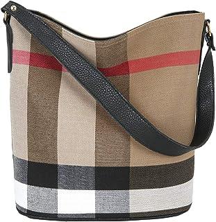 ONEYES Damen henkeltaschen handtasche Groß Shopper handtaschen Vintage umhängetasche kariert tasche Canvas schultertasche ...