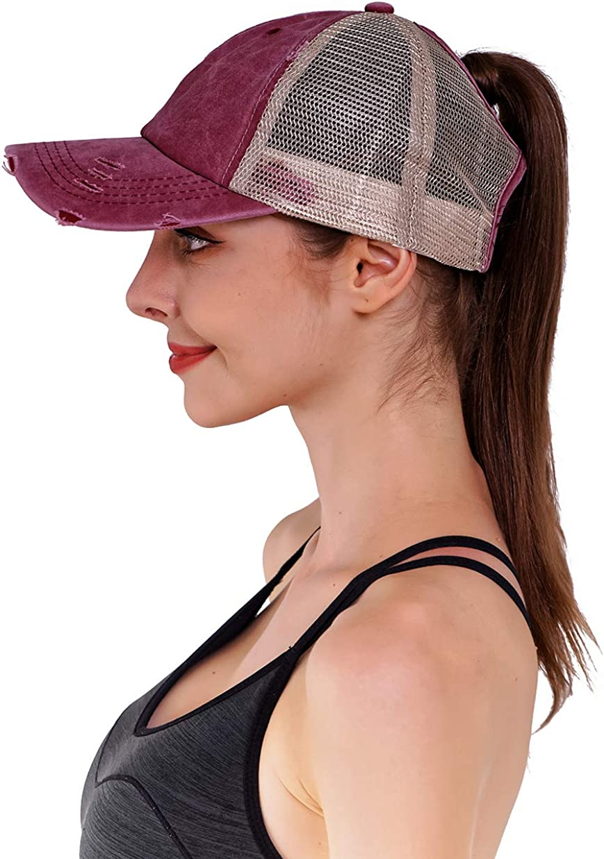 Henwarry Women's Washed Distressed Cotton Denim High Ponytail Hat Adjustable Baseball Cap (D03-Mesh Wine Red) at  Women's Clothing store