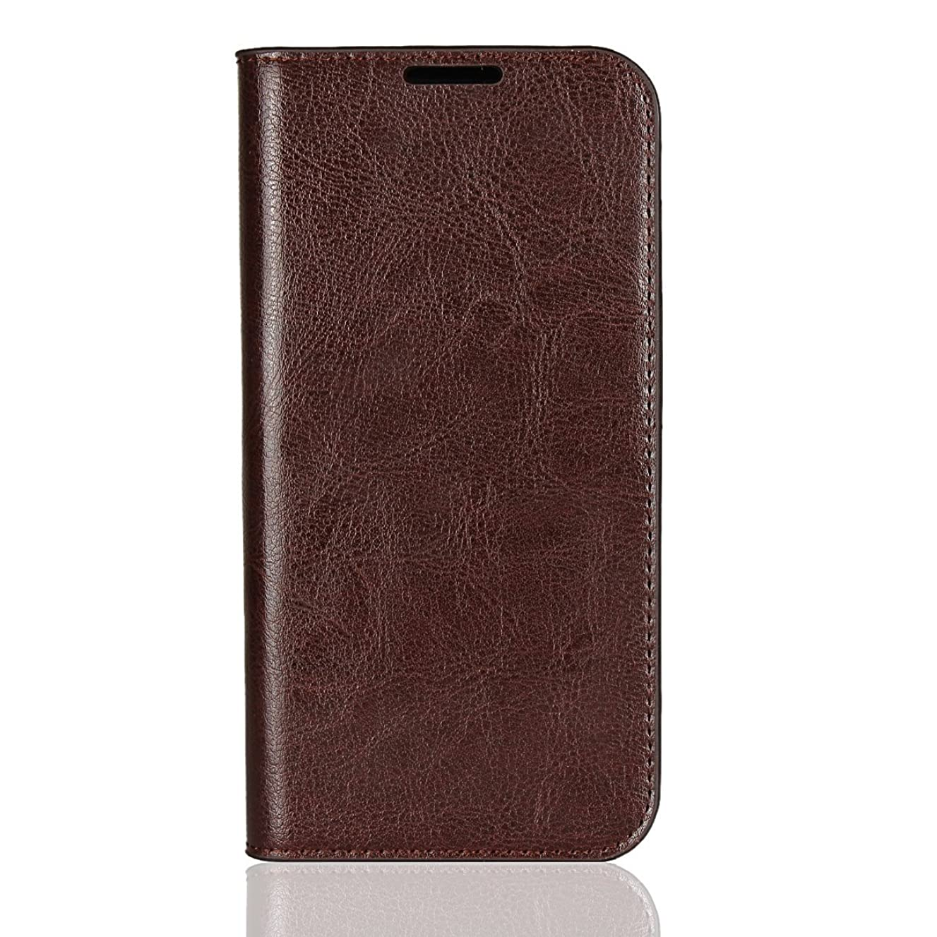 Moto G6 Case, Cavor Genuine Leather Folio Folding Slim Wallet Case, Multiple Credit Card Slots and Kickstand Heavy Duty Full Body Protection Phone Case (No Magnet Closure) - Dark Brown