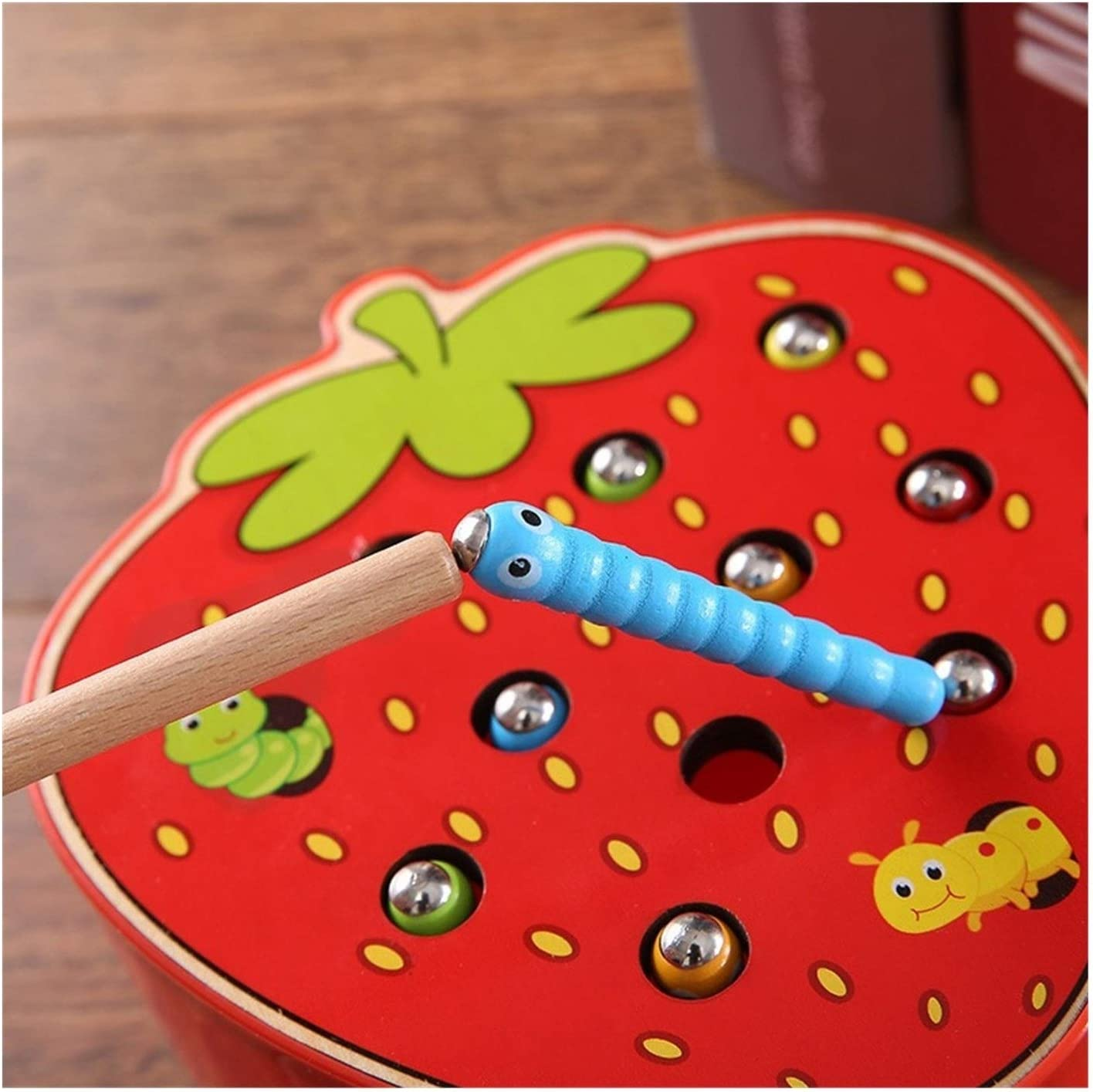 LEXING Baby Montessori Wooden Toys Magnetic Catch Worms 3D Puzzel Educational Game Fishing Color Math Kinderen spelletjes for 1 2 3 jaar oud (Color : Pear TJ266C) Strawberry TJ265C