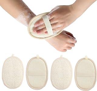 Madholly 4 Packs Exfoliating Loofah Sponge Pads, Natural Luffa Material Loofah Sponge for Men and Women, Perfect for Bath ...