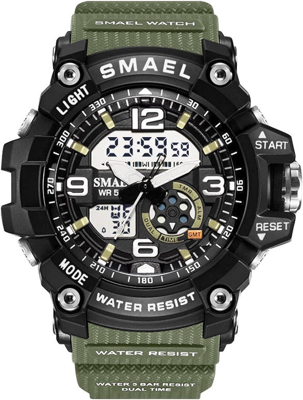 Achnr Women Sport Watches Impermeable Ladies Estudiante Multifuncional Reloj de Pulsera LED Digital Cuarzo Reloj Blanco Reloj de niña (Color : Armygreen)