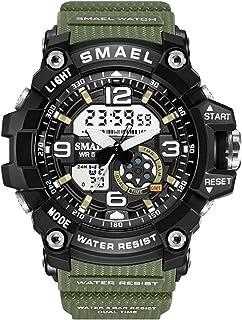 النساء الرياضة ساعات للماء السيدات الطالب متعددة الوظائف ساعة اليد LED الرقمية الكوارتز الأبيض ساعة فتاة (اللون: أخضر جيشي...