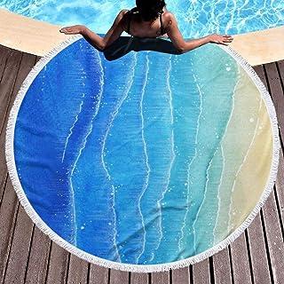 ビーチタオル バスタオル スイムタオル 海 紺色 グラデーション 夏 砂浜ビーチマット ラウンド ラグマット レジャーシート バスマット 高速吸水 速乾 大判 肌触り抜群 ふわふわ 耐久性 海水浴 多用途 150cm