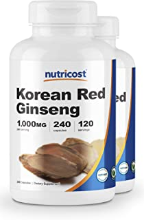 Nutricost Korean Ginseng 500mg, 240 Capsules (2 Bottles) - 1000mg Extra Strength Serving Size - Gluten Free & Non-GMO