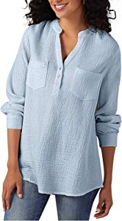 Women's V Neck Blouses Casual Long Sleeves Henley Button Down Tops Shirts