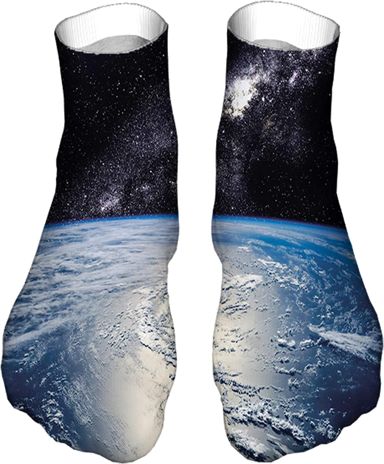 Women's Colorful Patterned Unisex Low Cut/No Show Socks,Majestic Universe Image with Earth and Distant Nebula Cloud