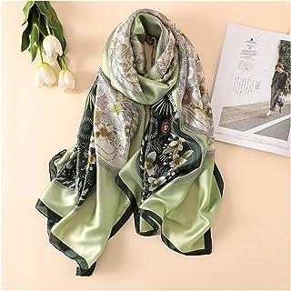 وشاح حريري طويل للنساء مصمم نمط فاولارد الحجاب البوهيمي (اللون: أخضر أخضر، الحجم: L180 سم عرض 90 سم)