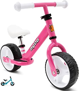 ImpStar Toddler Balance Bike with Adjustable Handlebar and Seat for Children Aged 2-4 - Lightweight Kids Balance Bike with Footrest, Wide Tires for Stability - Durable Walking Bicycle Without Pedals