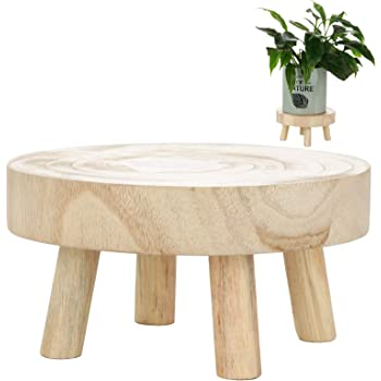 Amazon.com : QCUTEP Wooden Plant Stand Solid Wood Garden Plant Pot Stands Round Plant Stand Modern Plant Holder For Living Room Bedroom Garden, Warm Brown, M-6.7inch : Garden & Outdoor