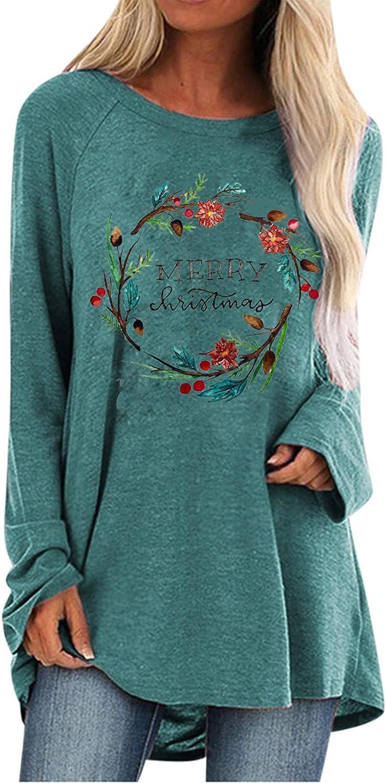 Women Swearshirt Casual Beauty Wreath Print Crewneck Long Sleeve T Shirt Basic Blouses Tops