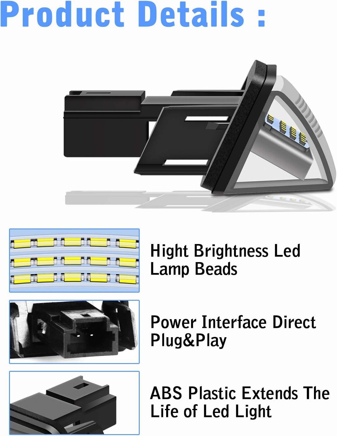 TECTICO LED Kennzeichenbeleuchtung 6000K Xenon Wei/ß mit E Pr/üfzeichen 3528-SMD Canbus Fehlerfrei Ultra Heller Nummernschildleuchten f/ür Focus C-MAX MK2 2 St/ück