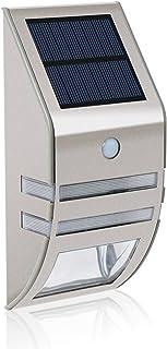 solar LED Lámpara,carcasa de acero inoxidable - plata(Luz Blanca) movimiento exterior resistente al agua jardín lámpara de pared para casa, cerca,garaje,cobertizo,escaleras,Jardín Decoración etc.