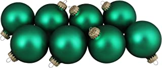 "Set of 8 Forest Green Matte Glass Ball Christmas Ornaments 2.5"" (63.5mm)"