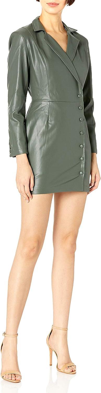 KENDALL + KYLIE Women's Vegan Leather Blazer Front Wrap Dress
