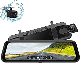 Backup Camera, 10Inch 1080P HD Mirror Dash Camera, Rear View Front and Rear Dual Lens with Loop Record, G-Sensor, 1080P Waterproof Reversing Assistance Camera, Parking Monitor, Touch Screen [GRC],
