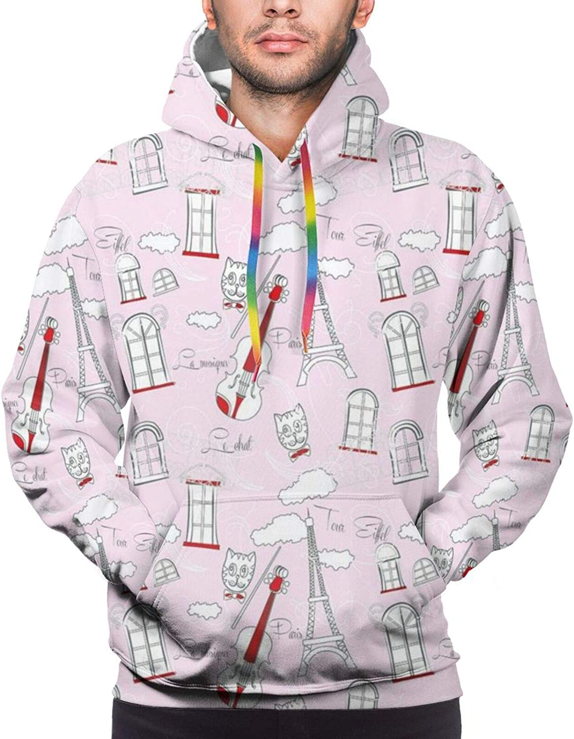 Men's Hoodies Sweatshirts,Abstract Circular Figures with Stripes Background Vintage Graphic Artistic Design