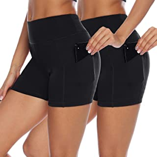 AUU Women High Waist Yoga Shorts Workout Running Athletic Non See-Through Yoga Pants