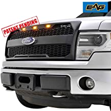 EAG Replacement Upper Grille ABS Mesh Front Grill Fit for 09-14 Ford F-150 - Matte Black - with Amber LED Lights and Ford Emblem Housing