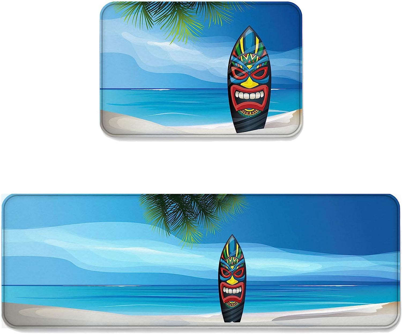 Fantasy Star Kitchen Rug Sets 2 Piece Floor Mats Non-Slip Rubber Backing Area Rugs Warrior Mask Surfboard Doormat Washable Carpet Inside Door Mat Pad Sets (19.7  x 31.5 +19.7  x 63 )