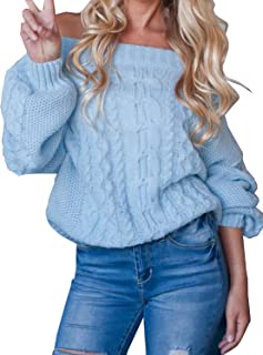 Women's Off Shoulder Puff Sleeve Loose Sweater Pullover