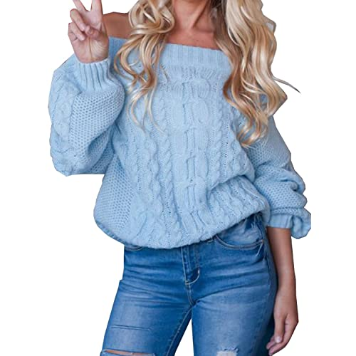 aa21df2b0d Women s Off Shoulder Puff Sleeve Loose Sweater Pullover