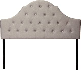 HOME BI Adjustable Height Arched Tufted Button Linen Fabric Upholstered Headboard, Full or Queen Size, Grey
