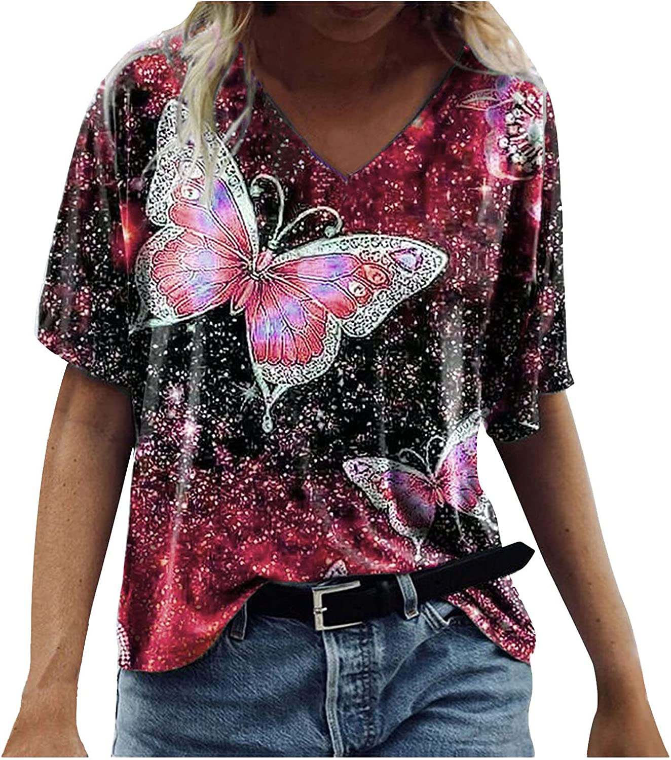 Women's Summer Short Sleeve Tunic Tops V Neck Colorful Floral Butterfly Printed Tees Shirt Casual Comfy Blouses Tops