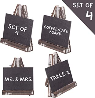 Stylendly Rustic Small Chalkboard Signs with Distressed Pinewood Easels (Set of 4) Black Faux Slate Chalk Board with Stand - Signs for Food, Wedding Tables, Kitchen Signs, Events - 3 Sizes