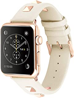 Solomo Compatible for Apple Watch Band 38mm 40mm, Fashion Women Genuine Leather Replacement Strap 3D Studs Spikes Rivets Rock Punk Rose Gold Metal Adapter Buckle iWatch Series 4/3/ 2/1 (Creamy White)