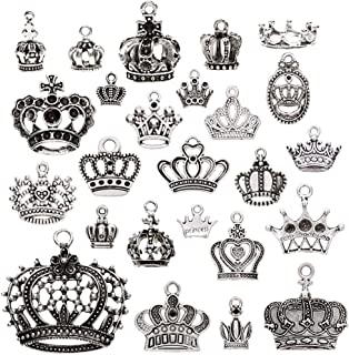 KeyZone Wholesale 25 Pcs Vintage Silver Plated Mixed Crown Charms Pendants DIY for Jewelry Making and Crafting