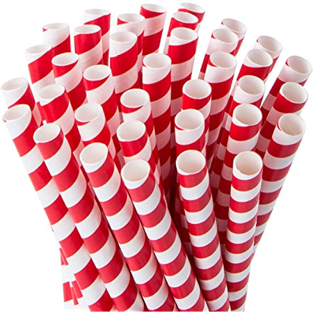 DRINKING STRAWS BIODEGRADABLE PAPER STRAW  RED AND WHITE JUMBO  9MM X 210MM