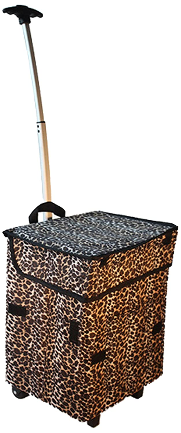 dbest products Smart Cart, Leopard Collapsible Rolling Utility Cart Basket Grocery Shopping Teacher Hobby Craft Art
