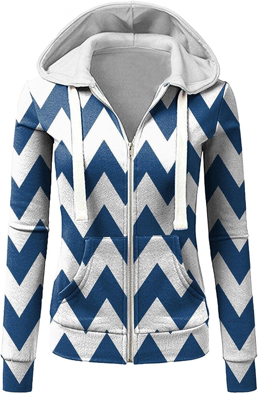 ONHUON Womens Hoodies Zip Up Clearance,Women's Zip Up Stripe Print Long Sleeve Hooded Sweatshirts Casual Coat Jacket Slim Jumper Blue