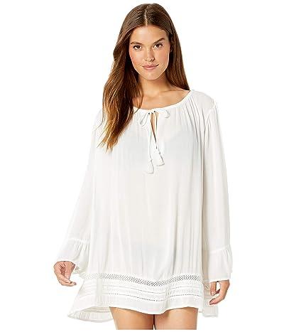Roxy Under The Moon Long Sleeve Summer Dress (Bright White) Women