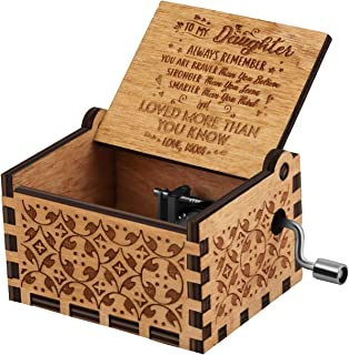 You are My Sunshine Wood Music Boxes,Laser Engraved Vintage Wooden Sunshine Musical Box Gifts for Birthday/Christmas/Valentine's Day (Mom to Daughter)