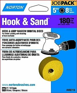 Norton Hook & Sand JobPack 49219 Hook & Loop Random Orbital Discs, P180 Fine Grit, Aluminum Oxide Abrasive, For Finish Sanding and Cleaning of Bare Surfaces, 5
