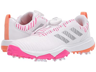 adidas Golf Codechaos BOA (Little Kid/Big Kid) (Footwear White/Shock Pink/Amber Tint) Golf Shoes