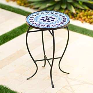 blue outdoor side tables