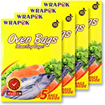 WRAPOK Oven Cooking Turkey Bags Medium Size Ribs Baking Roasting Bags No Mess For Chicken Meat Ham Poultry Fish Seafood Vegetable – 20 Bags (14 x 17 Inch)