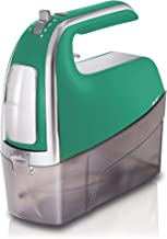 Hamilton Beach 6-Speed Electric Hand Mixer with Snap-On Case, Twisted Wire Beaters, Milkshake Rod, Dough Hooks, Whisk, Green (62623)